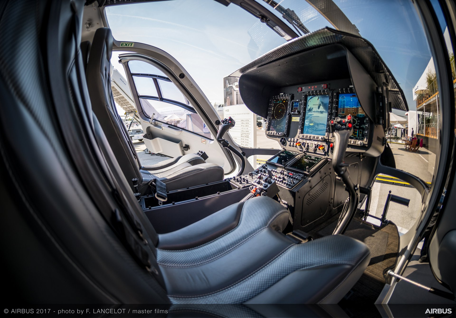 The H135, with its state-of-the-art cockpit for the highest levels of safety, receives attention at the 2017 Paris Air Show.