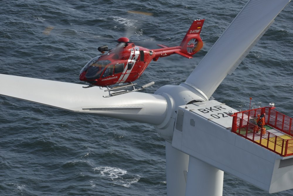 Offshore energy operations are supported by an Airbus H135 helicopter