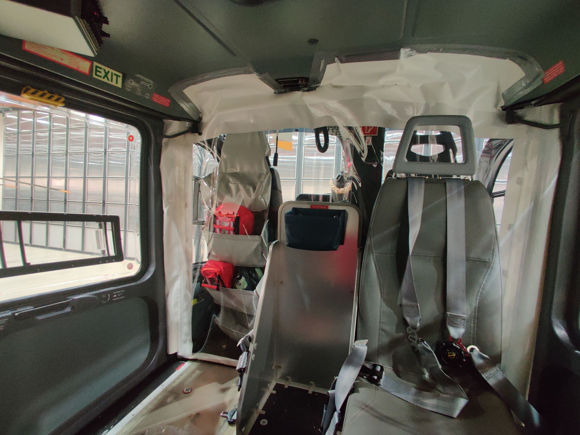 Heli Austria has installed cabin-cockpit separations to protect pilots from the cabin.