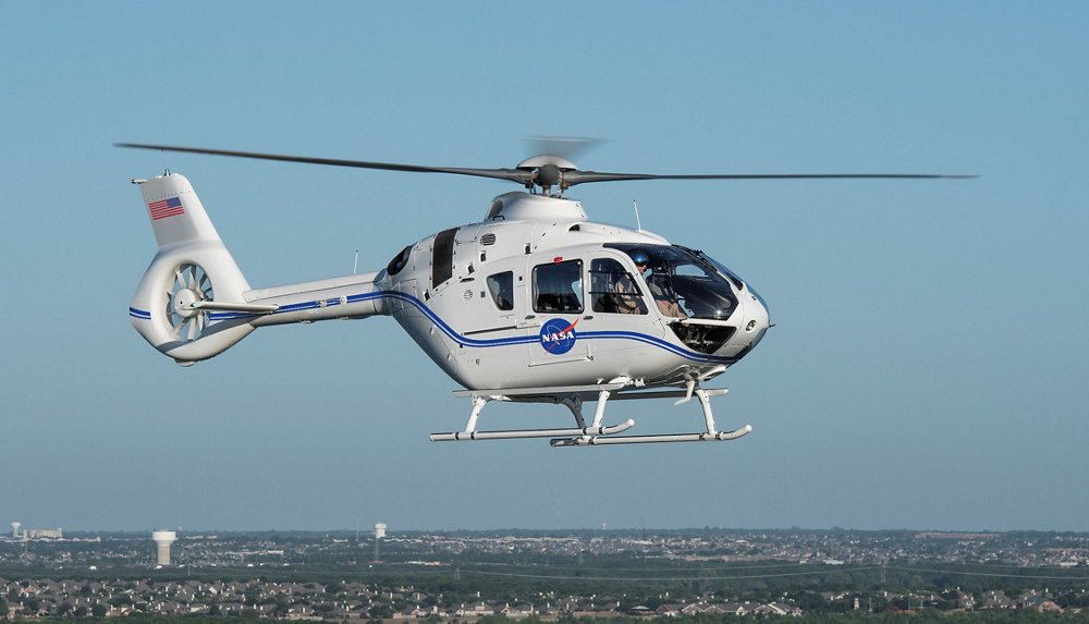 An Airbus Helicopters H135 delivered to the National Aeronautics and Space Administration (NASA) is shown in flight.