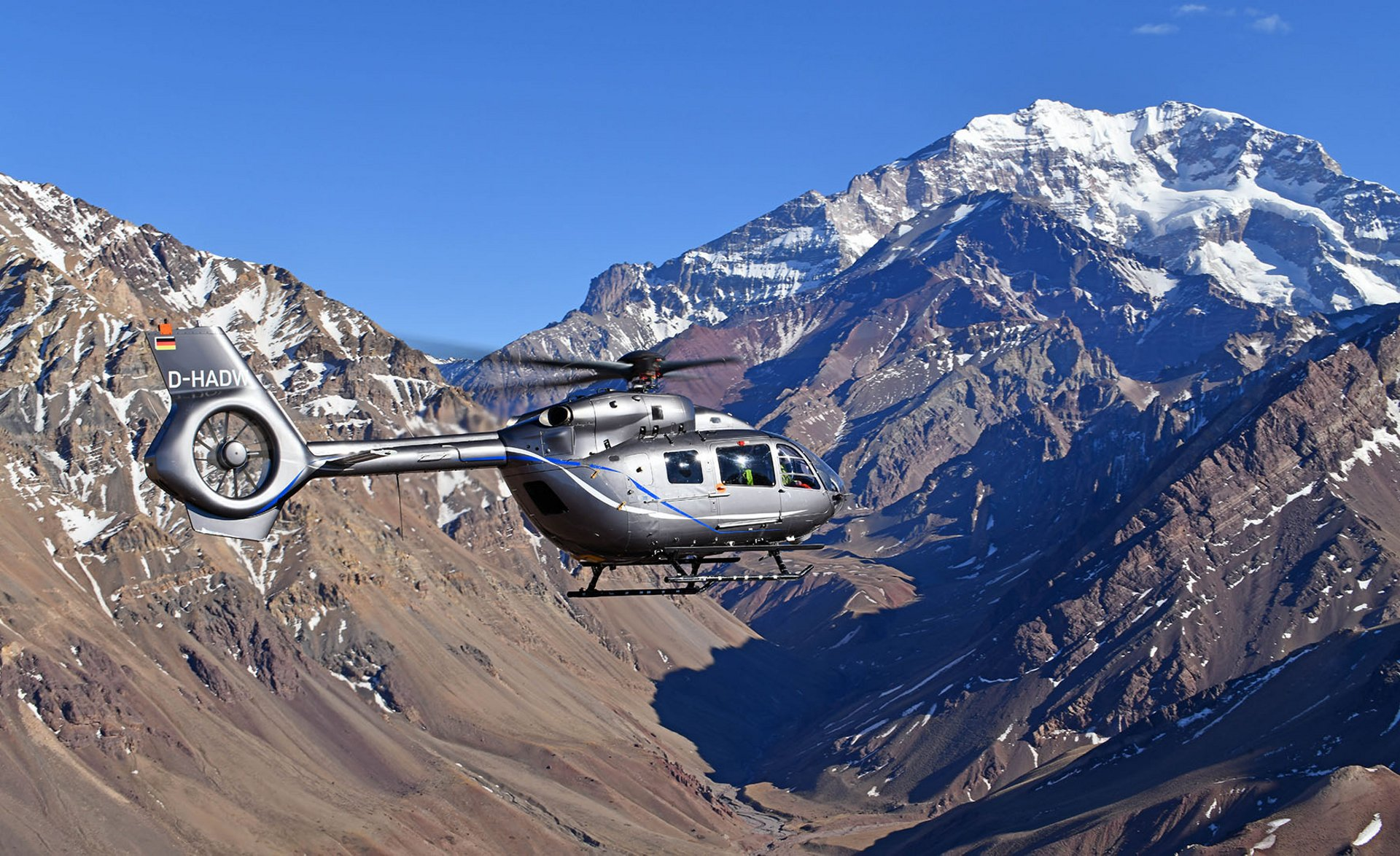 The H145 in flight, during a trip in which it landed on the Aconcagua, the highest mountain in the Southern Hemisphere, culminating at 6,962 metres (22,840 feet). This is the first time a twin-engine