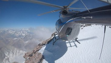 The new Airbus H145 lands on top of the Andes