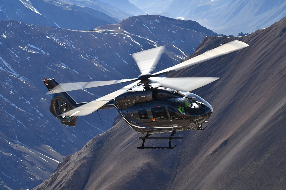 An in-flight view of the five-bladed-rotor version of Airbus Helicopters' H145, which was certified by the European Union Aviation Safety Agency (EASA) in 2020.