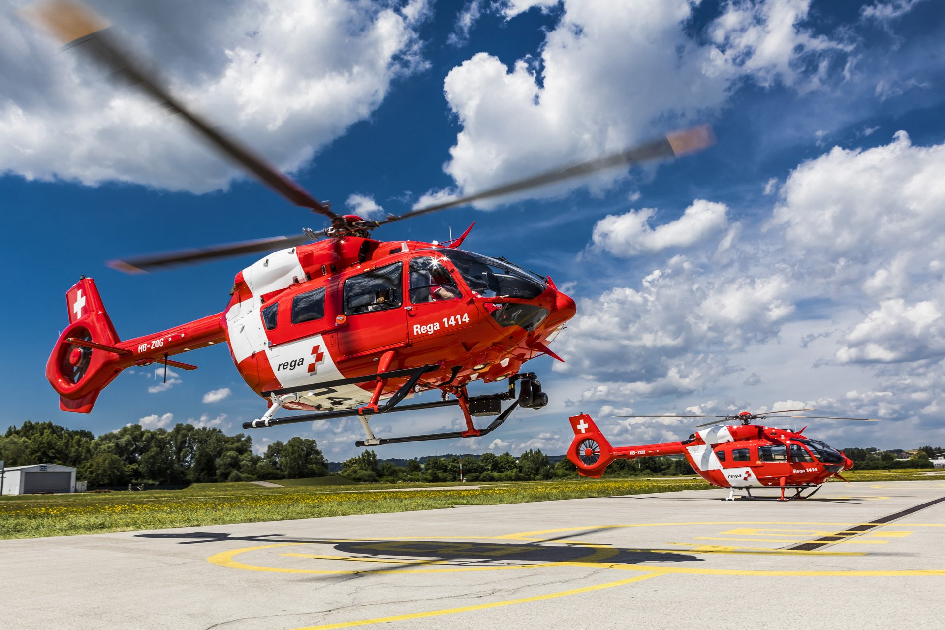 Airbus Helicopters has delivered the first two of a total of six H145 helicopters to Swiss Air-Rescue Rega. These will replace Rega's existing fleet of EC145 helicopters, which will be phased out by mid-2019. The first H145 helicopter is expected to be deployed at the Bern base in October.