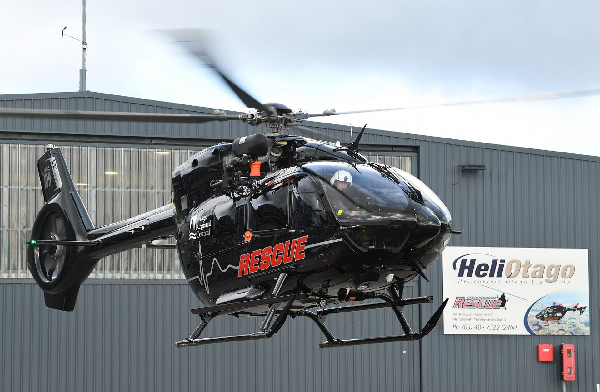 Saving lives . . . A state-of-the art Airbus H145 twin engine helicopter has joined the fleets of rescue helicopters operated by Helicopters Otago.