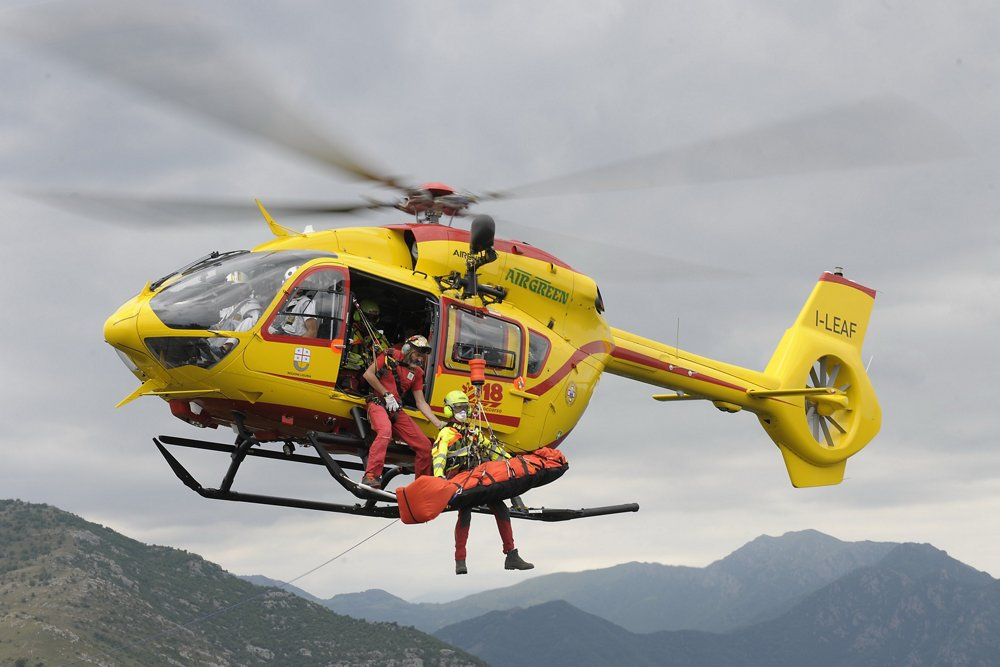 An Airgreen H145 in-flight during a HEMS (Helicopter Emergency Medical Services) mission training exercise.