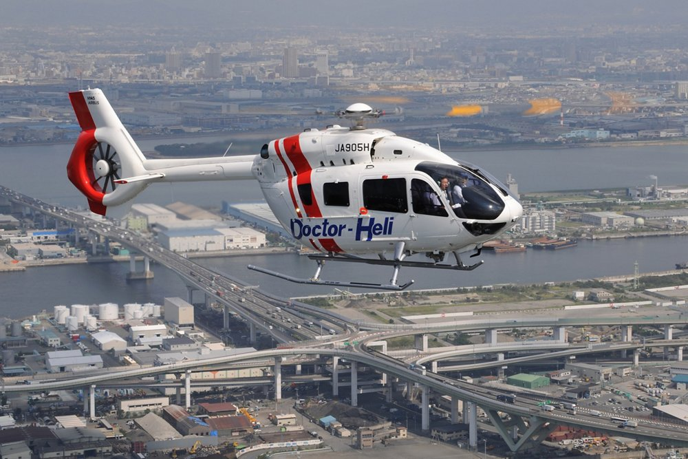 In flight view of an Airbus H145 rotorcraft operated by Hirataguken of Japan.