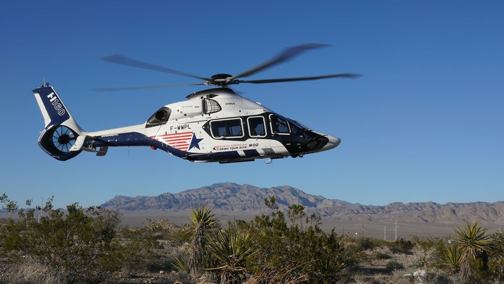 The H160 lands in Las Vegas, kicking off Airbus' presence at Heli-Expo