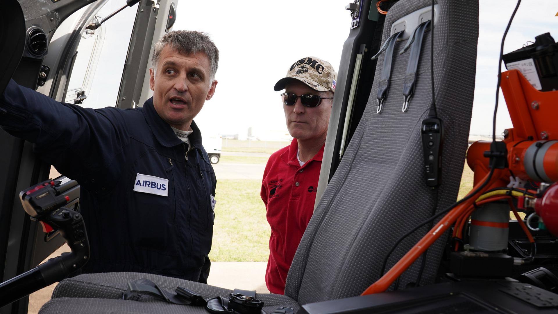 H160 Flight test pilot Olivier Gensse explaining the H160's cockpit layout.