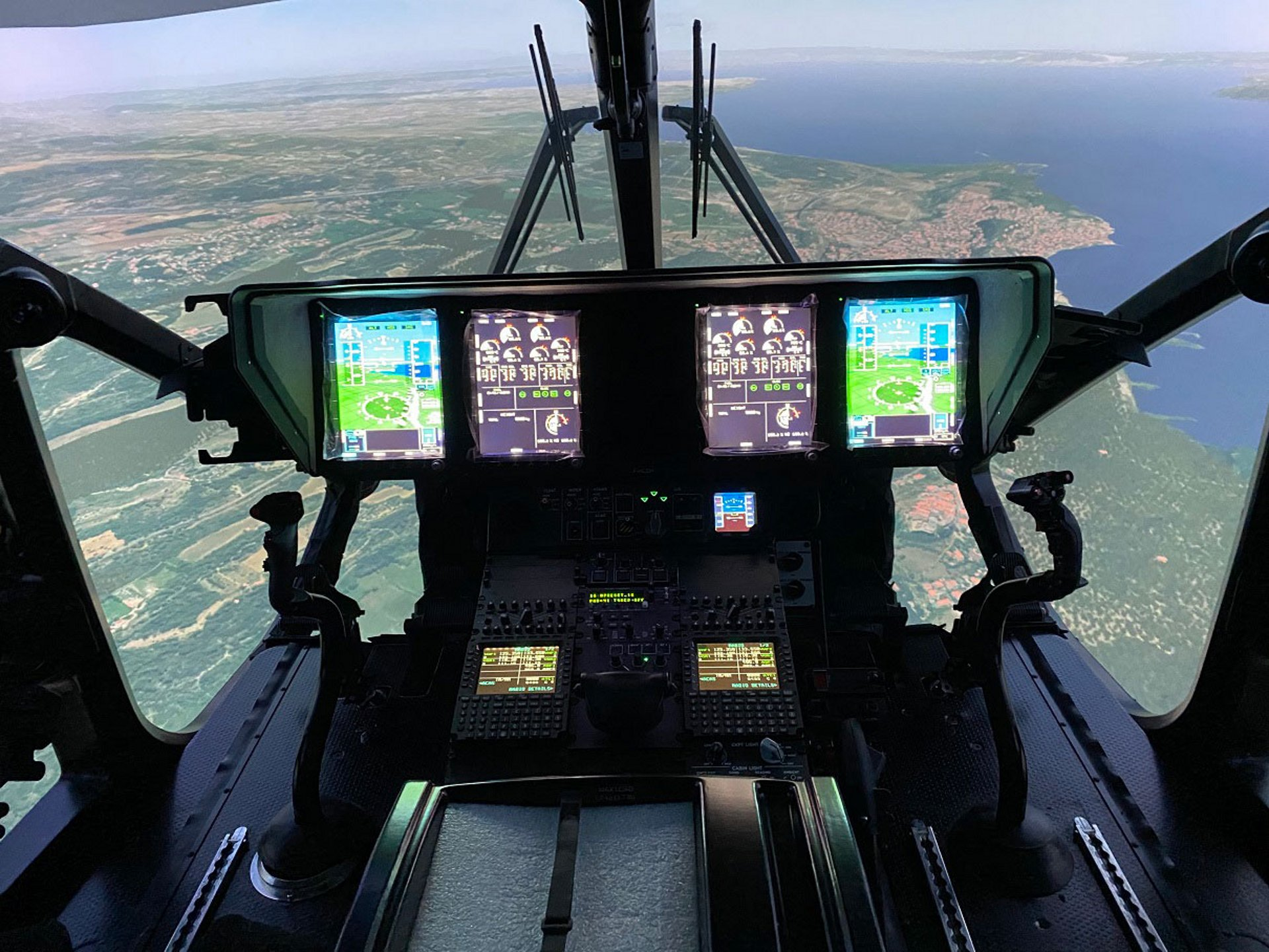 A view from inside the full flight simulator for Airbus' H160 rotorcraft.