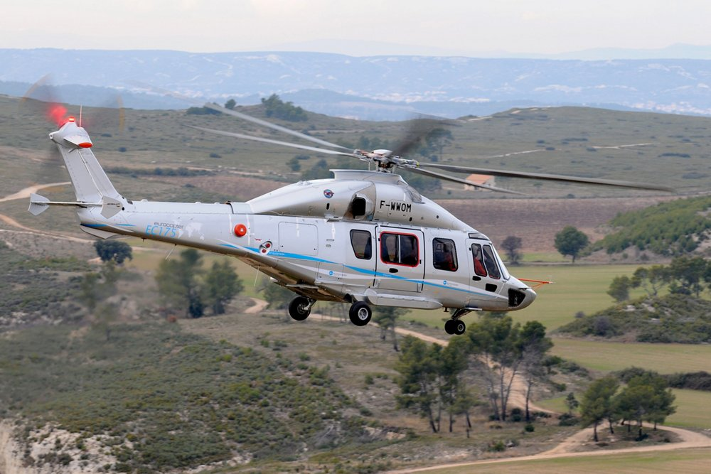 The second EC175 helicopter prototype is shown in flight.