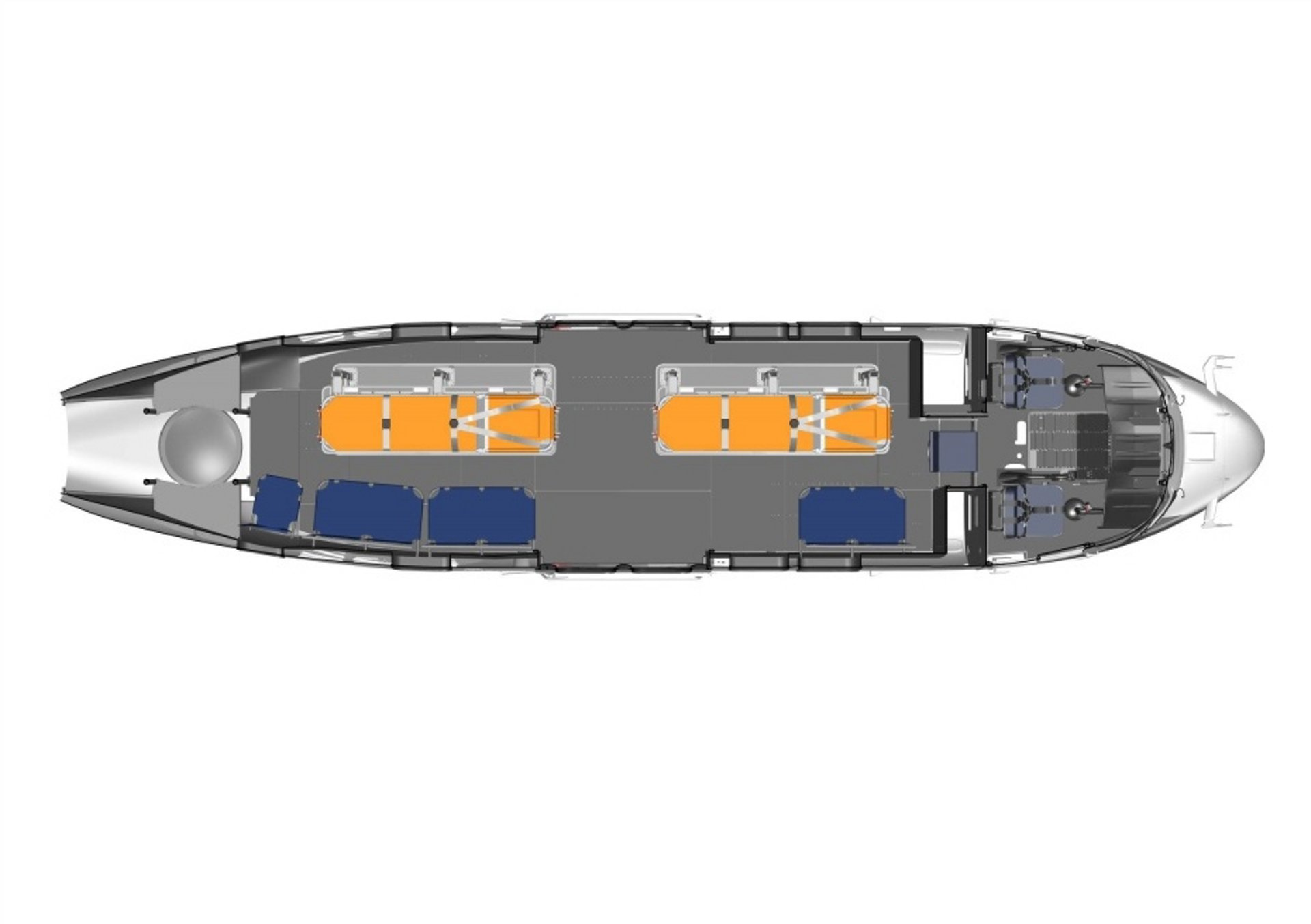 Diagram of an Airbus H215 helicopter cabin configured for casualty evacuation (Casevac) missions.