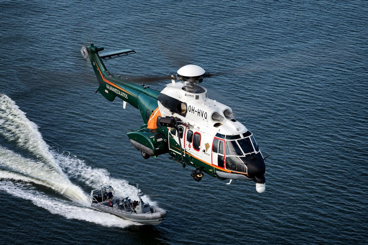 The Finnish Border Guard's H215s are used to perform Border Security and Maritime Search and Rescue (SAR) duties from the Turku and Helsinki bases. The Air Patrol Squadron of the Finnish Boarder Guard carries out more than 4,000 flight hours annually, 1,400 of which in their Super Pumas.