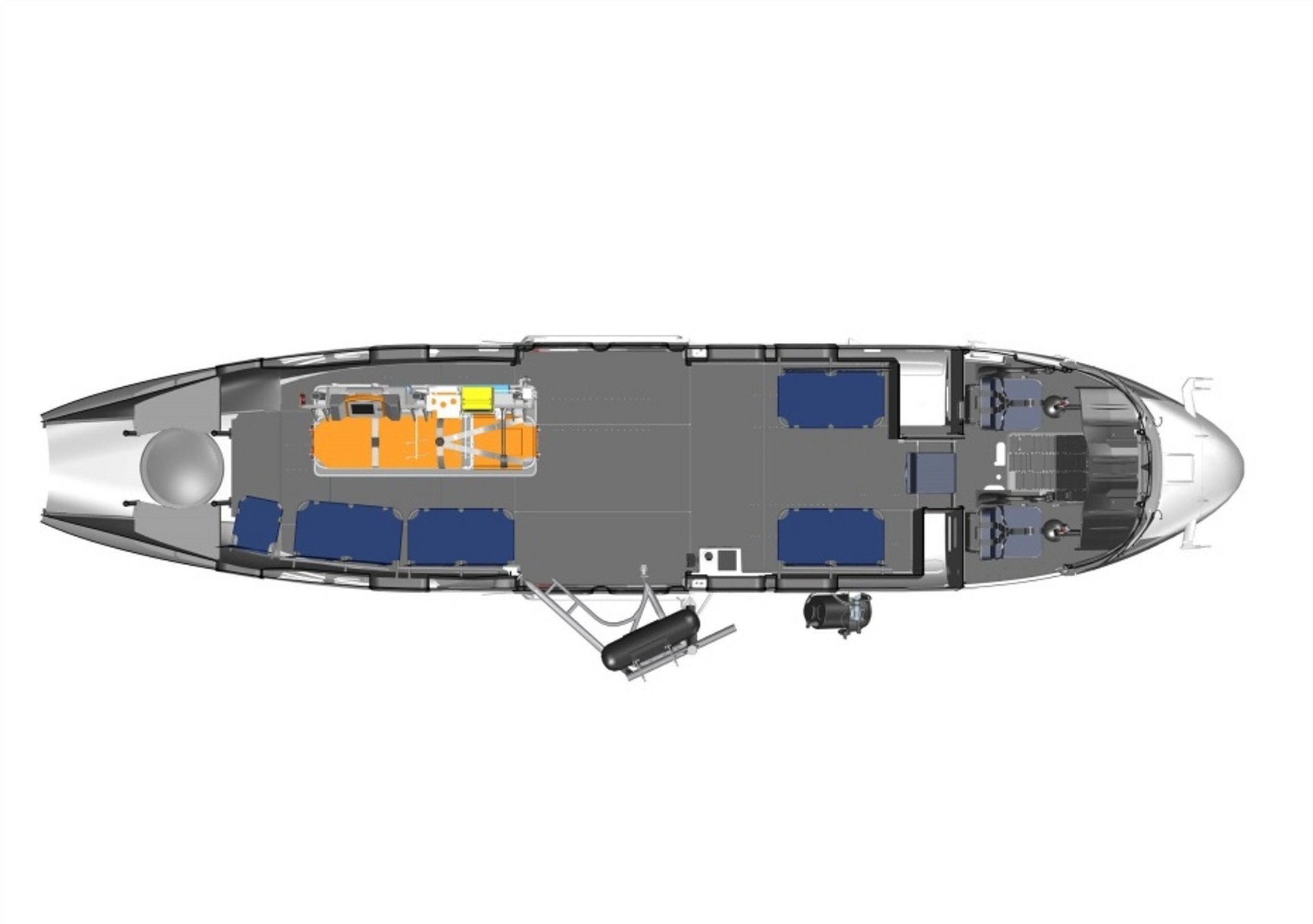 Diagram of an Airbus H215 helicopter cabin configured for search and rescue and/or medical evacuation (Medevac) operations.