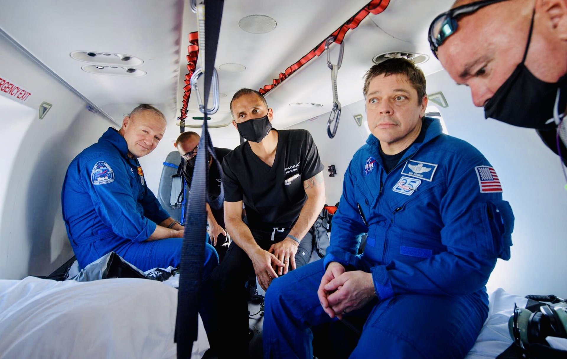 NASA astronauts Bob Behnken and Doug Hurley were transported aboard an Airbus H225 helicopter after their 18-hour flight from the International Space Station inside a SpaceX Crew Dragon Capsule, which landed in the Gulf of Mexico