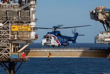 Bristow's H225 sea rescue training near an offshore oil rig