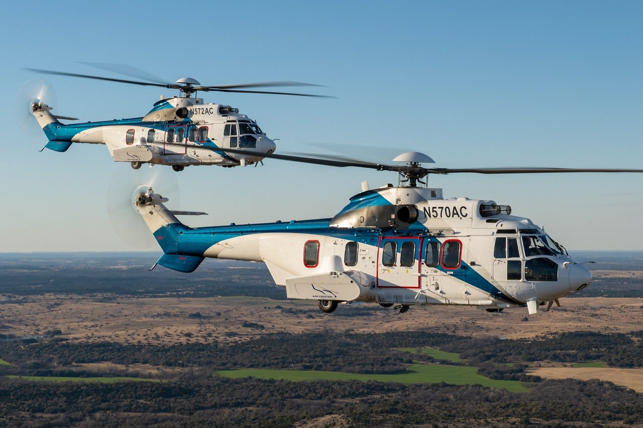 ACHI's H225 helicopters in flight.