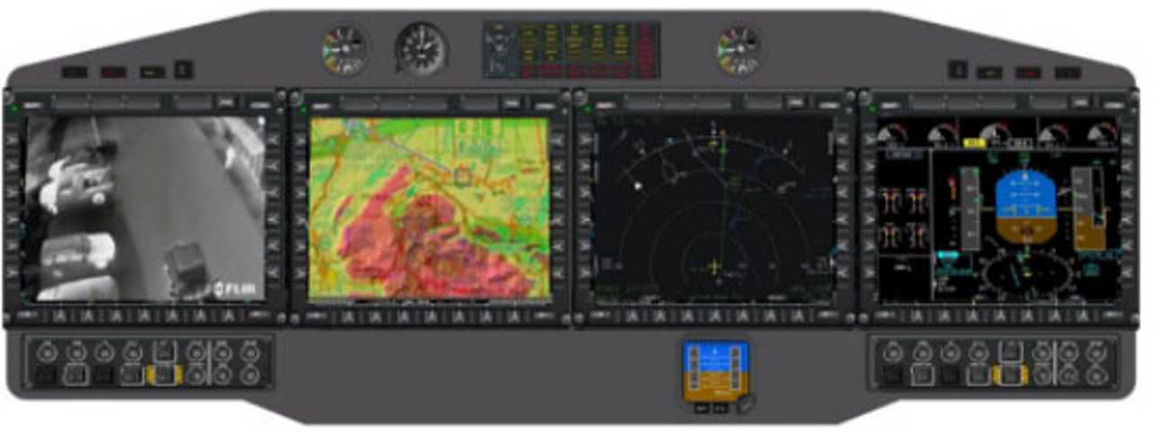 A representation of the Airbus H225M military helicopter's instrument panel with display screens.