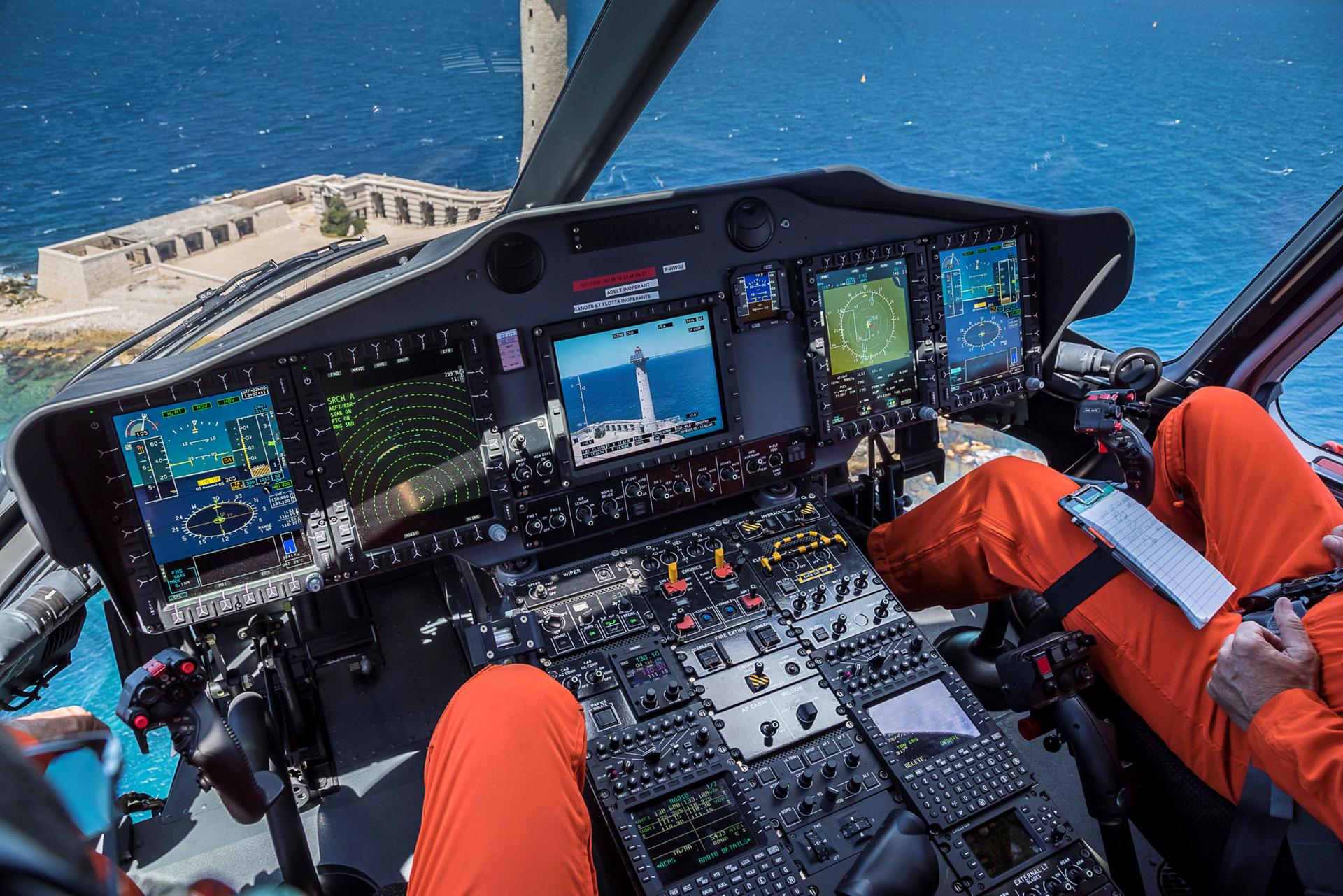 A view of a cockpit layout for Airbus' Helionix avionics suite.