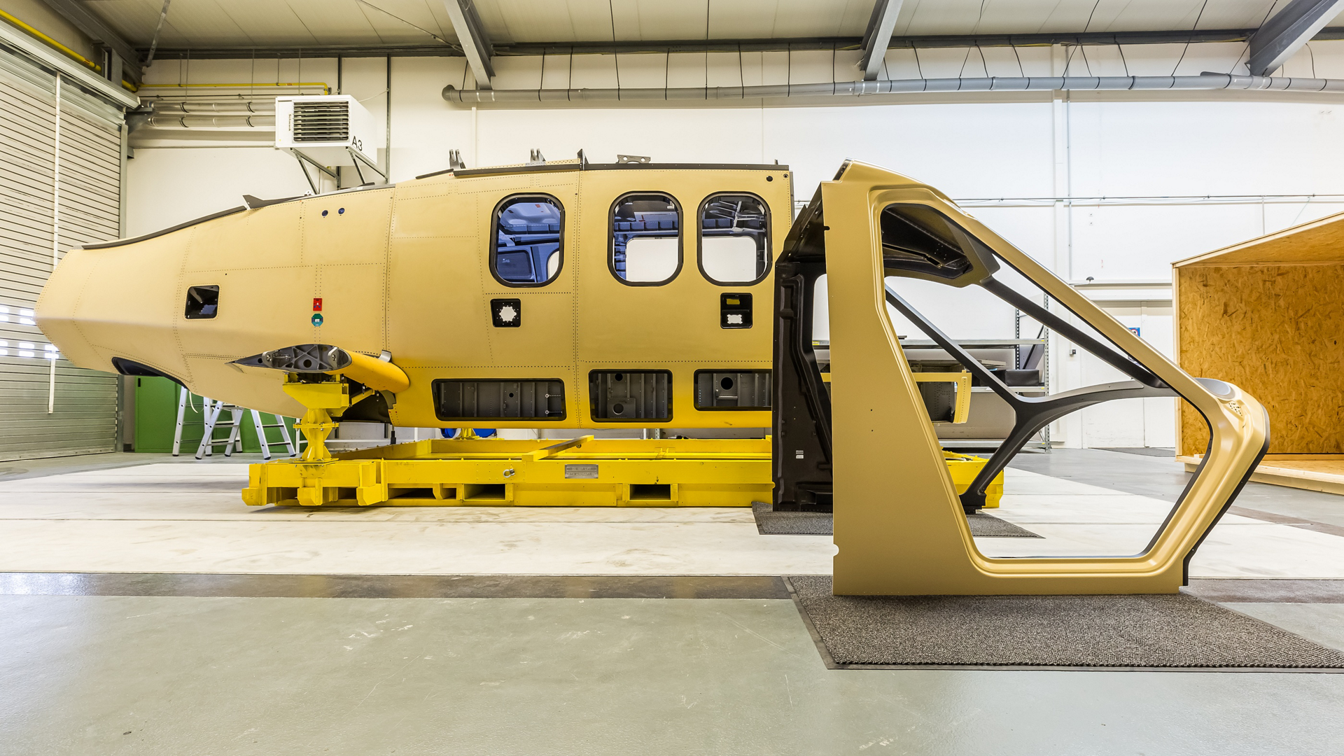 Two components for Airbus' Racer high-speed demonstrator – the airframe and canopy – are shown ready for assembly