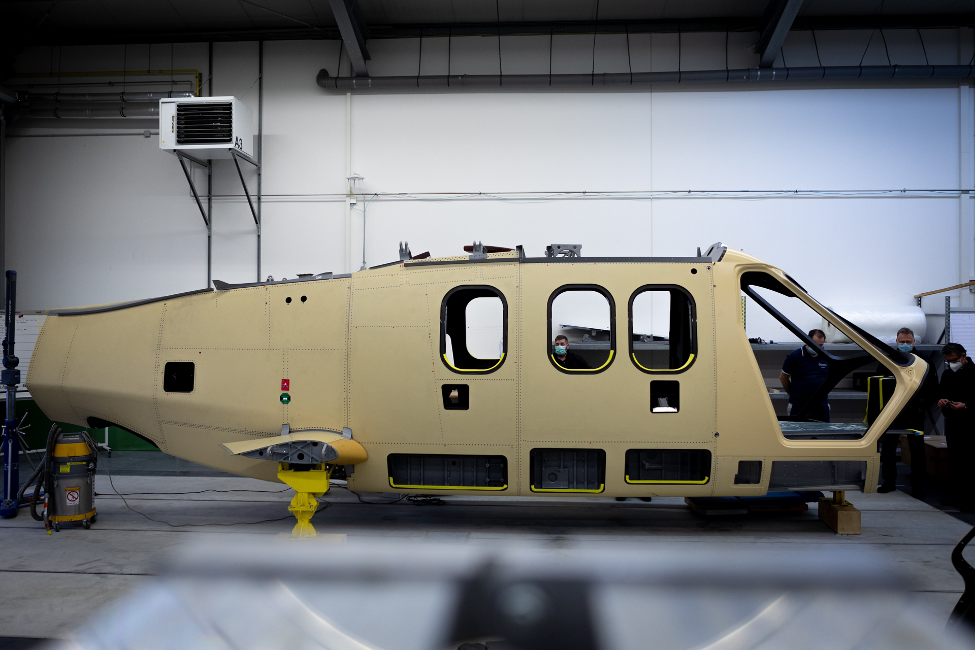 A centre fuselage section for Airbus' Racer high-speed demonstrator is shown ready for assembly
