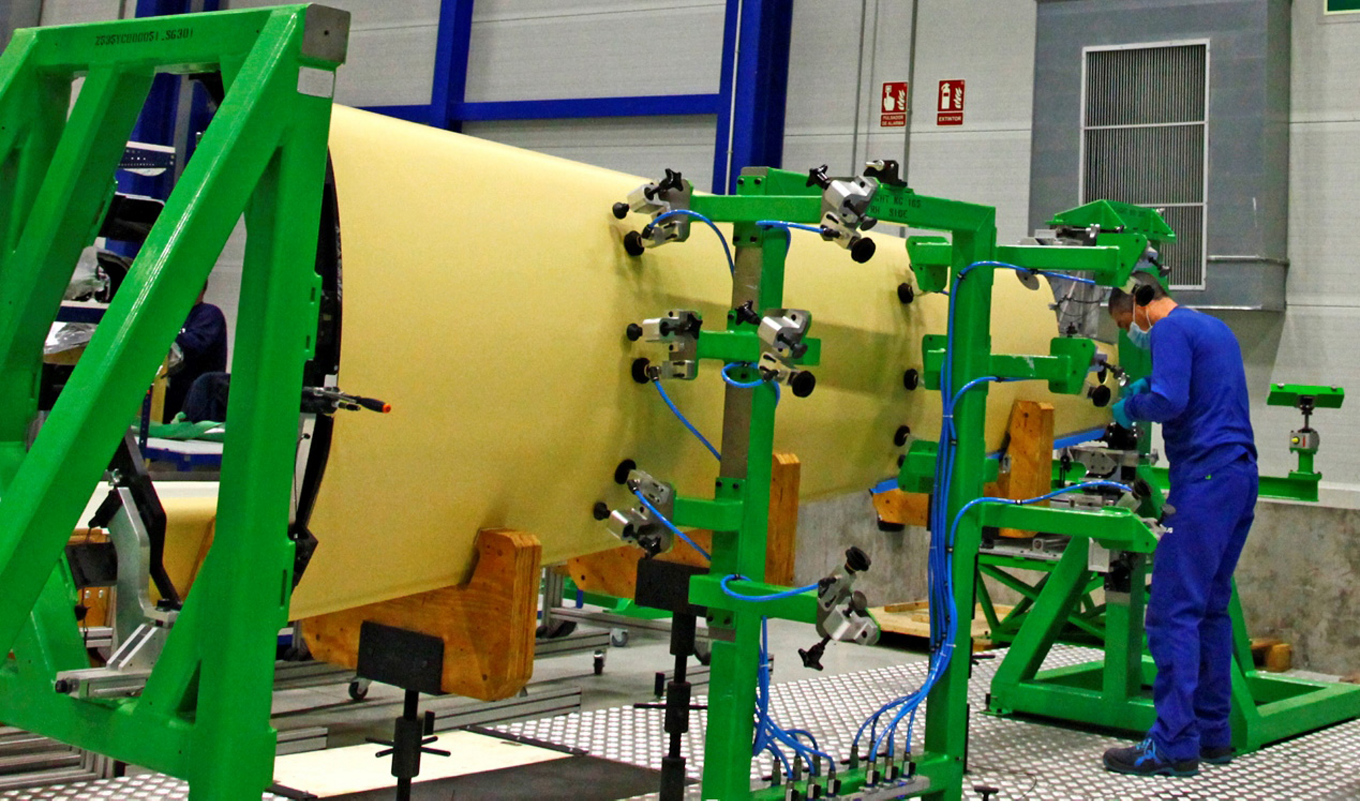 A rear fuselage section for Airbus' Racer high-speed demonstrator is shown ready for assembly