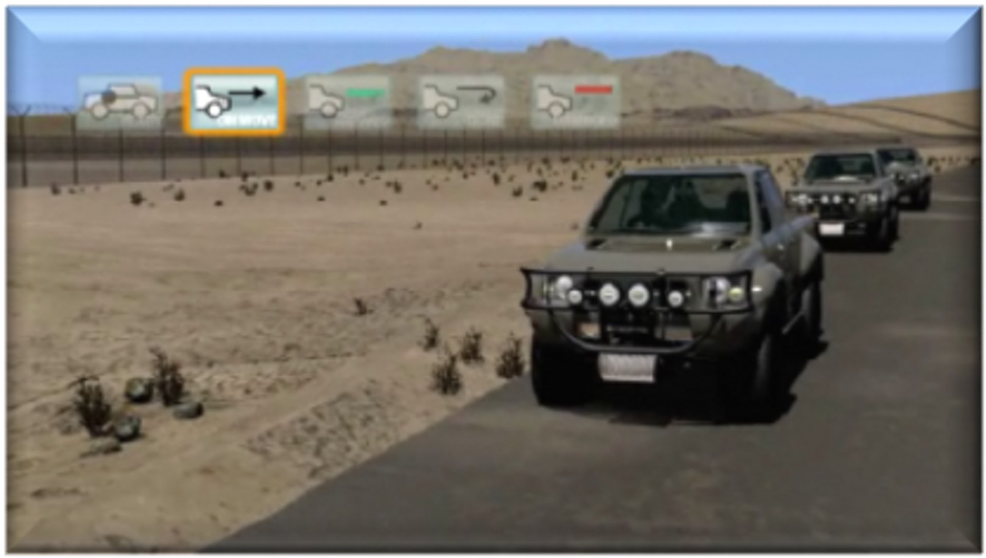 Border patrol personnel scan vehicles for threats using Smart Fences capabilities.