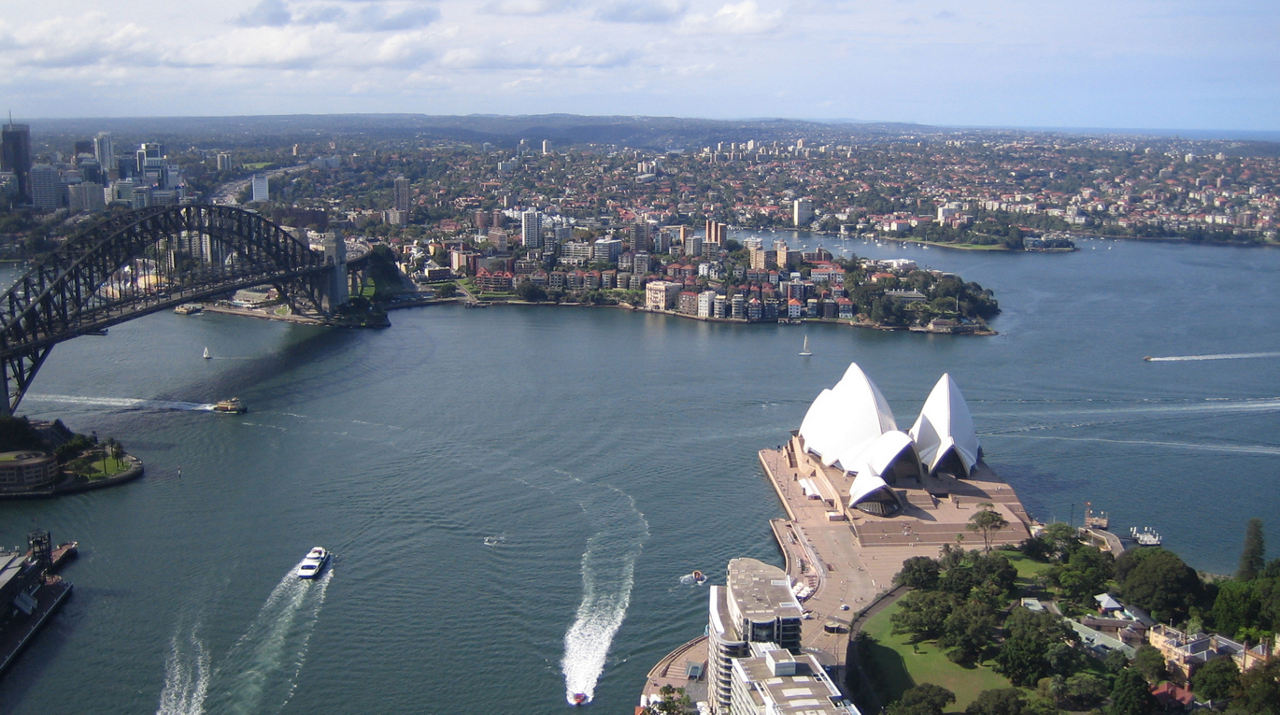 An aerial photo of Sydney Harbour in Australia.