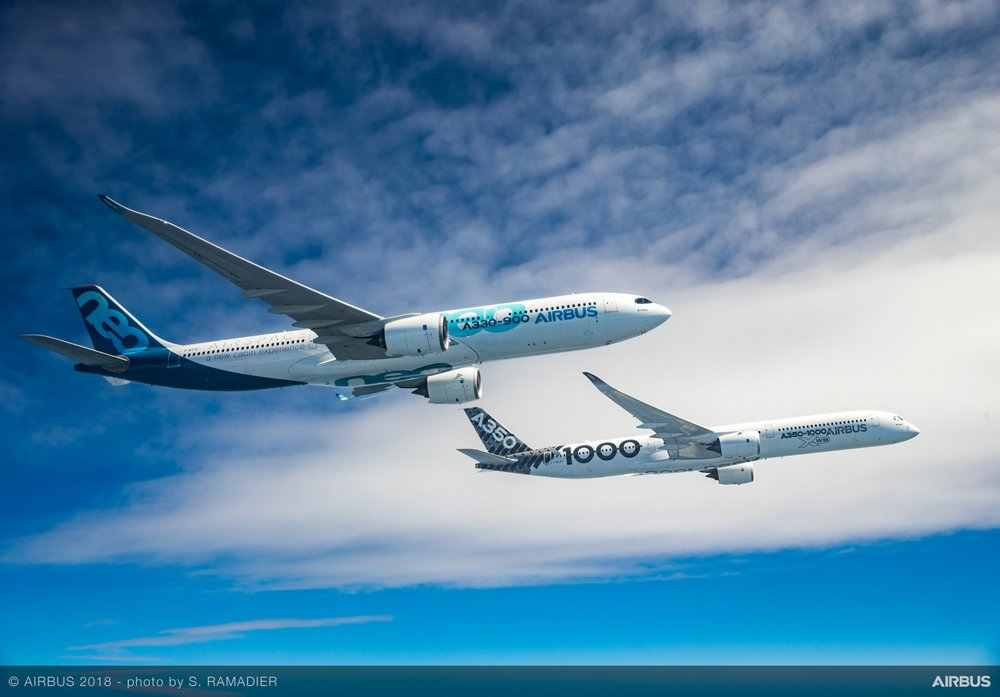 Building on the same dimensions as Airbus' proven A330-300, the A330-900neo version makes for an even more efficient and comfortable aircraft. The A350-1000 features modified wing trailing-edges, larger six-wheel main landing gears, an advanced airframe with extensive use of composite materials, and the world's most efficient large aero-engine.