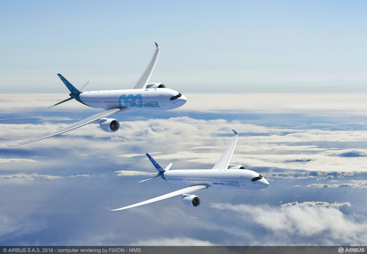 A350-900 with A330-900neo, Airbus_A350-900 and A330-900neo in flight