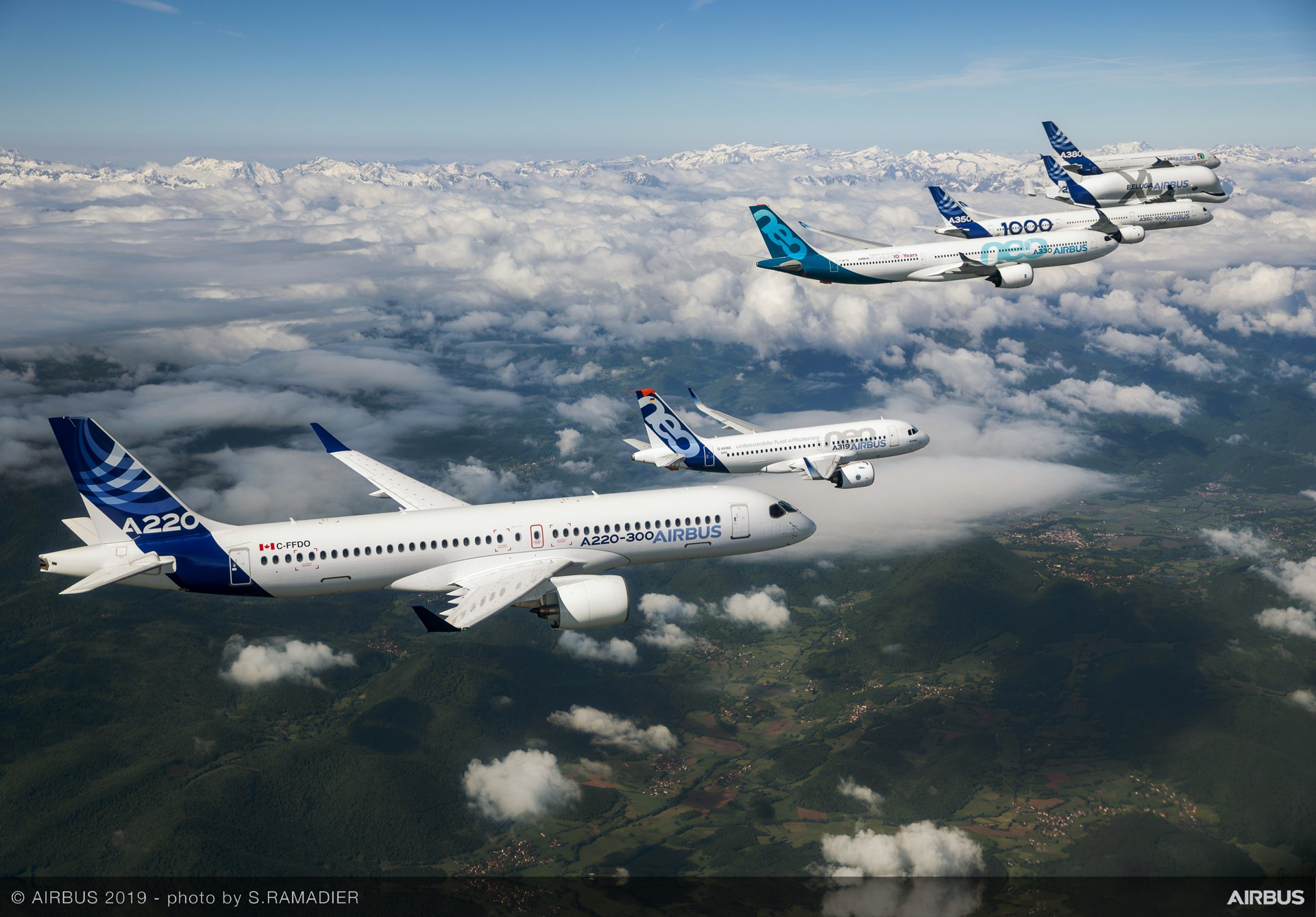 In celebration of the company's 50th anniversary in 2019, Airbus conducted a special formation flight with representatives from each member of its in-production commercial aircraft product line – A220-300, A319neo, A330-900, A350-1000 and A380 – plus the next-generation BelugaXL airlifter