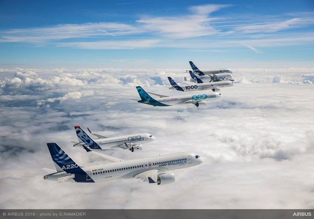 A formation flight with members of Airbus' A220, A320, A330, A350 and A380 product lines, plus a BelugaXL freighter