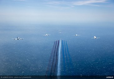 Airbus 50th anniversary - Formation flight with Patrouille De France aerobatic team
