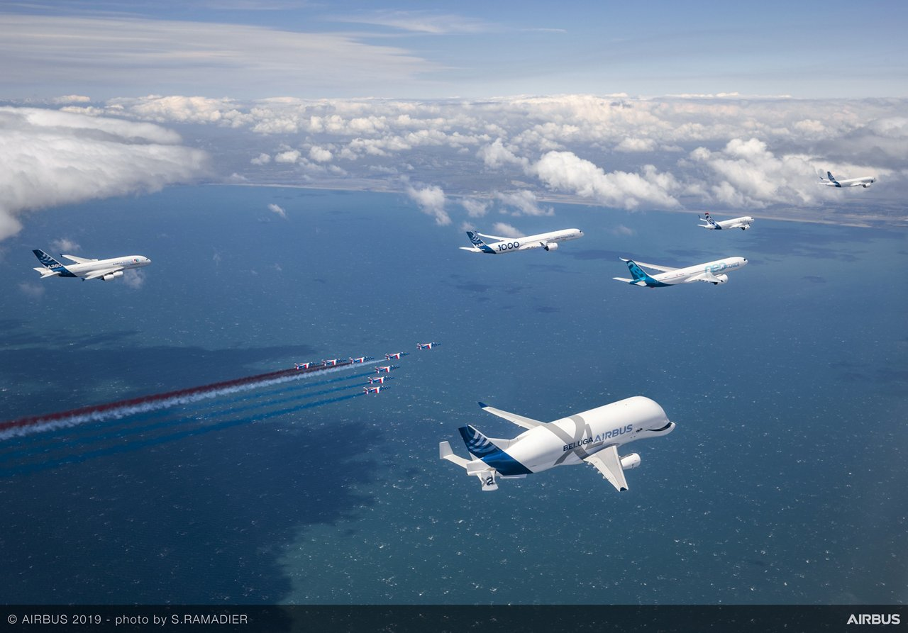 Celebrating 50 years since Airbus' creation, representatives from each of the company's in-production commercial jetliner families – A220, A320, A330, A350 XWB and A380 – are joined in a May 2019 formation flight by France's Patrouille de France aerobatic demonstration team