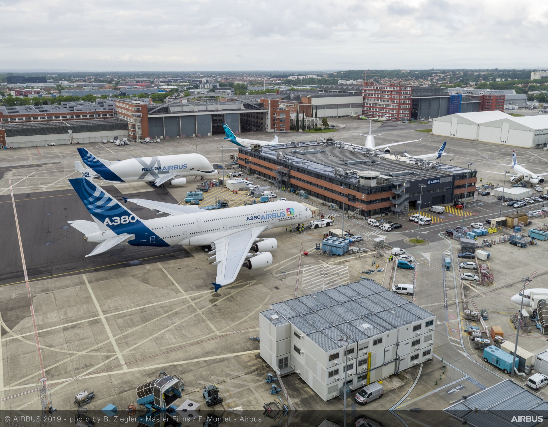 Airbus 50th Years Anniversary - Formation Flight Preparation  by drone