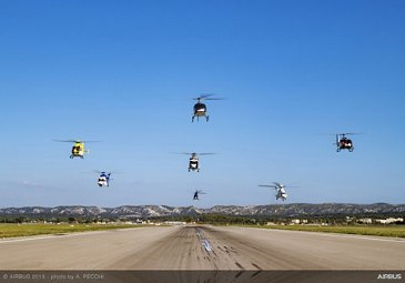 Airbus Helicopters flying in formation to celebrate 50-year anniversary