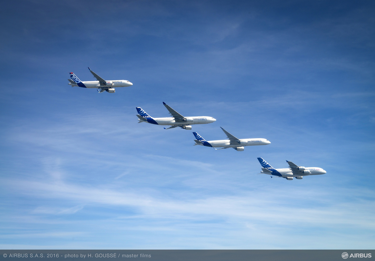 Airbus' product line of modern commercial jetliners includes the A320, A330, A350 XWB and A380 aircraft – which are shown here in formation flight