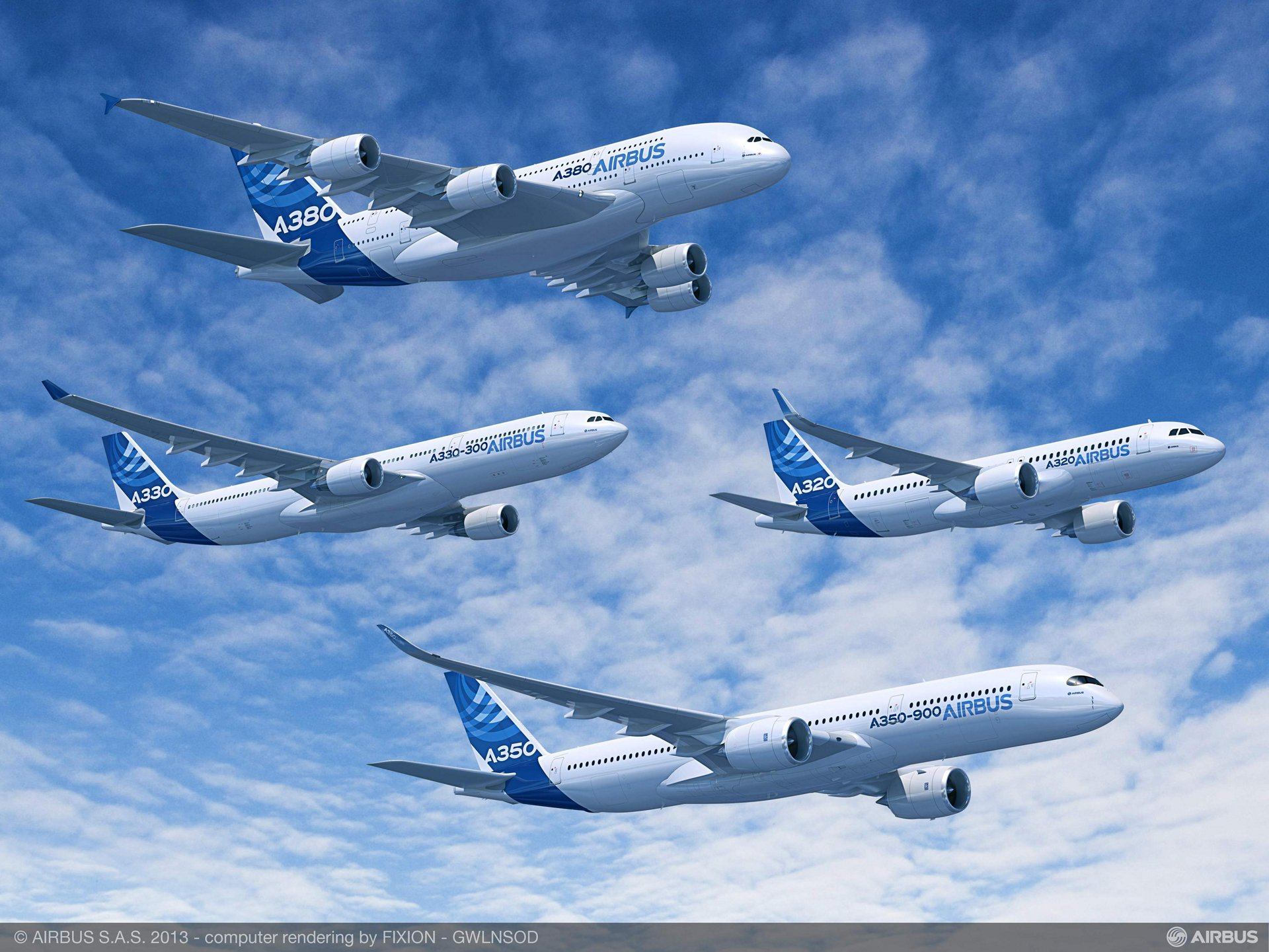 Airbus' product line of modern commercial jetliners includes the A320, A330, A350 XWB and A380 aircraft – which are depicted here in formation flight