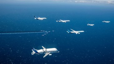 Airbus 50th anniversary formation flight commercial aircraft