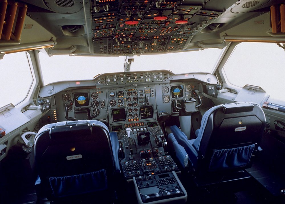 An inside view of the A310's cockpit, including flight controls