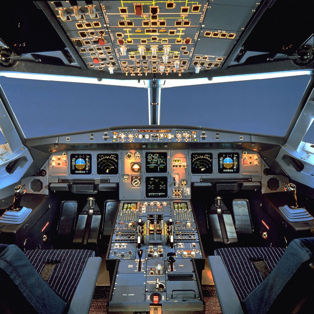 An inside view of the A320 cabin, including flight controls