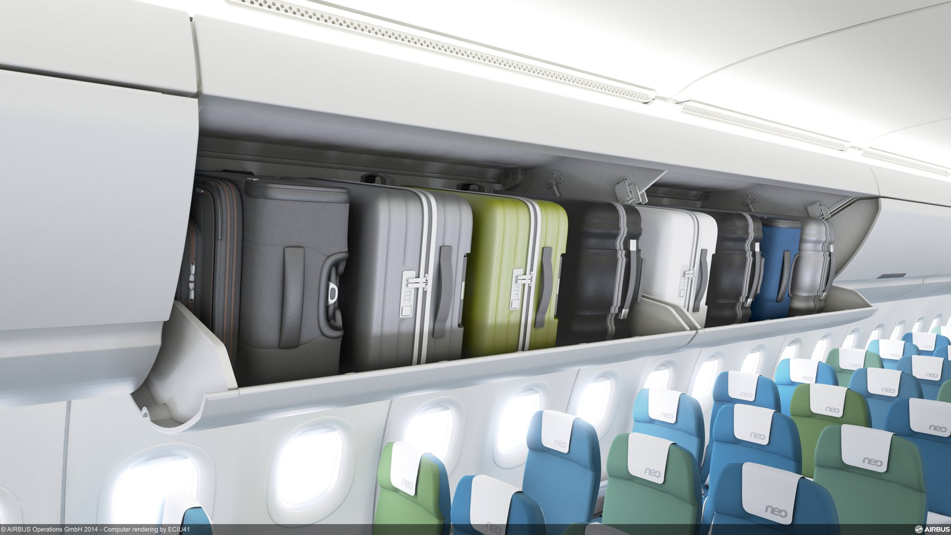 Airbus launches new pivoting overhead carry-on stowage bins