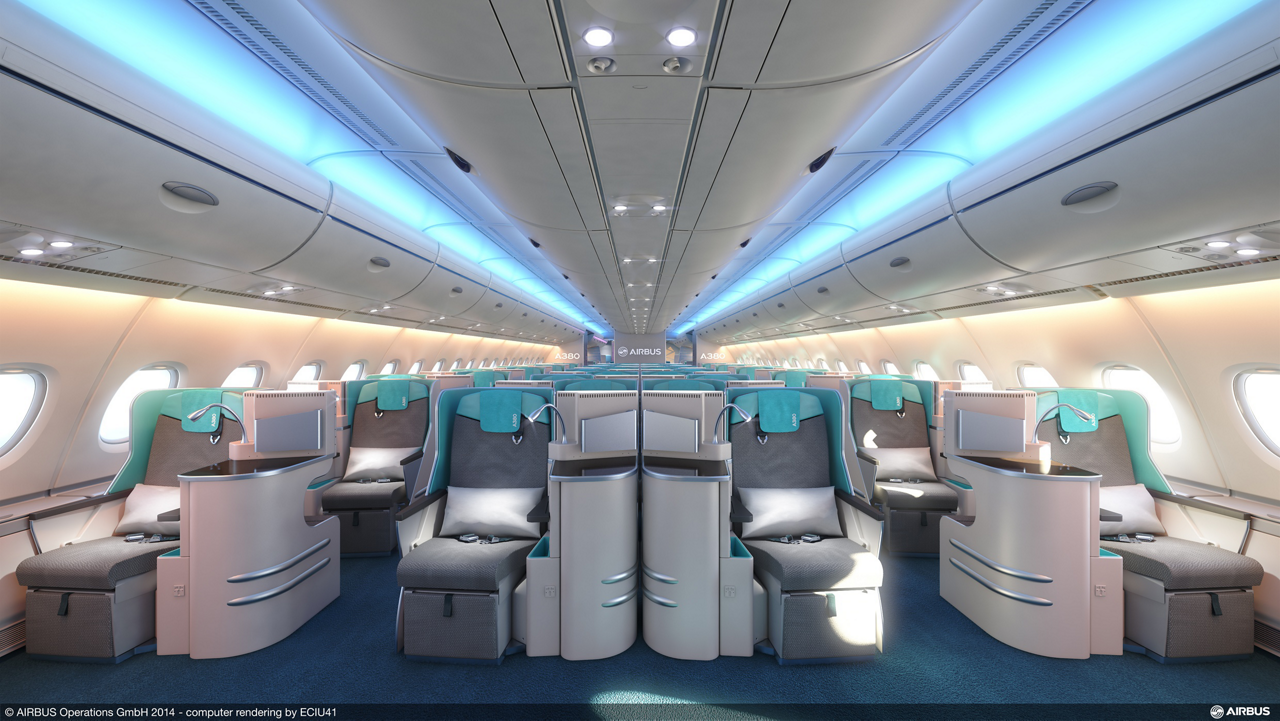An example of a stylish business class seating configuration for Airbus' A380