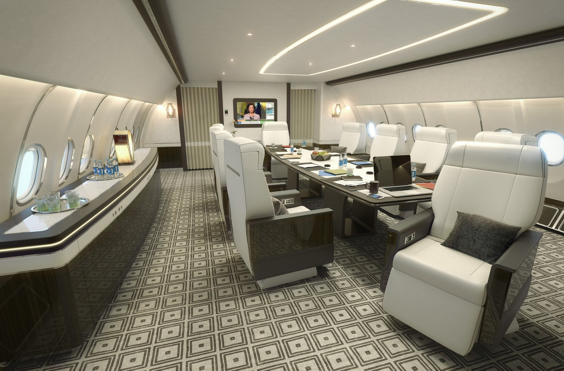 Launched with the ACJ330, the Summit concept features a VIP section – including a bedroom with ensuite bathroom, office, conference and dining room, as well as a working area – in the front of the cabin, with airline-style first-class and economy seating toward the rear