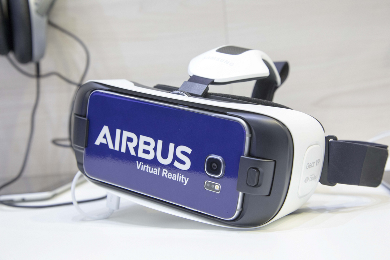 A smart phone-enabled virtual reality headset with Airbus branding
