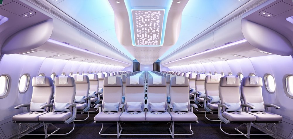 "The ""Airspace by Airbus"" cabin depicted in this image for the A330neo is based on four key concepts: comfort, ambience, service and design."