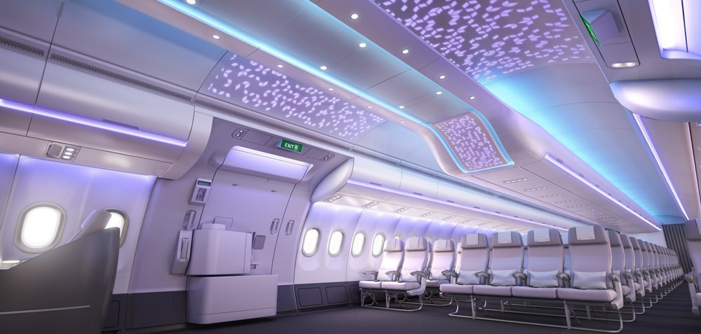 Comfort and space onboard the Airbus A330neo (New engine option) Airspace cabin. A330neo along with the A350 XWB form a new family of airbus cabins.