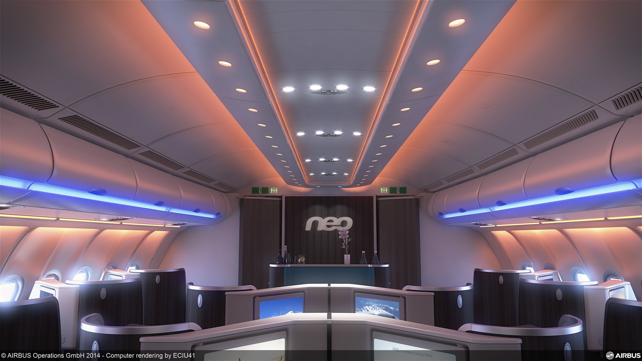 The newly-launched A330neo cabin incorporates Airbus' latest developments such as fourth-generation in-flight entertainment systems, full-LED mood lighting and Wifi connectivity