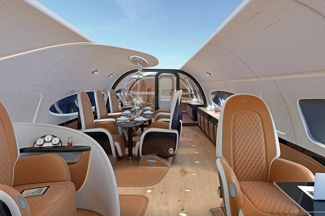 "The new ACJ319neo cabin design called ""Infinito,"" announced by Airbus Corporate Jets and the Italian hypercar Atelier Pagani Automobili at EBACE, creates a feeling of airiness and space"
