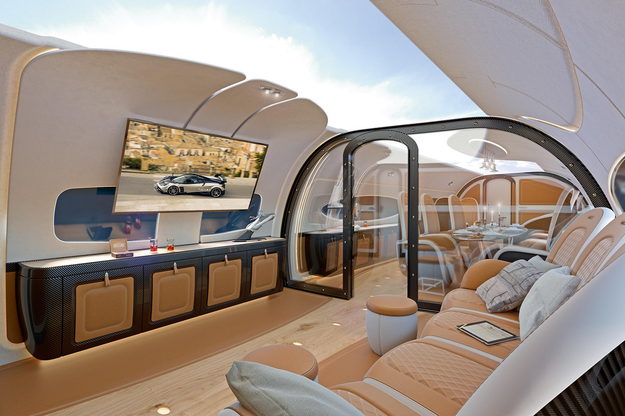 "A key feature of the ACJ319neo's new ""Infinito"" cabin design – announced by Airbus Corporate Jets and the Italian hypercar Atelier Pagani Automobili at EBACE – is it sky ceiling, which can bring a live view of the sky above the aircraft into the cabin -"